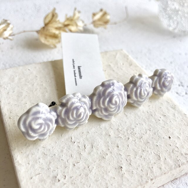 Rose/L size すみれ色 : 陶器 : ブローチの画像1枚目