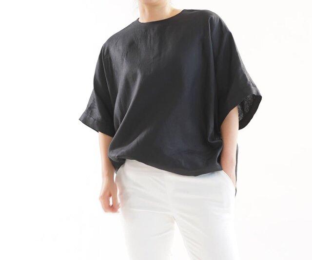 【wafu】薄地  リネンブラウス ビックサイズ Tシャツ 襟ぐり小さめ 背中ファスナー/ ブラックt016c-bck1の画像1枚目