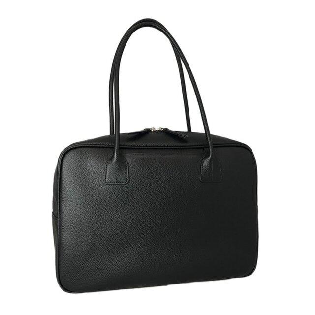 A4対応 人気のスクエアボストン オール牛革 本革バッグ 軽量 リアル シュリンクレザー ブラックの画像1枚目