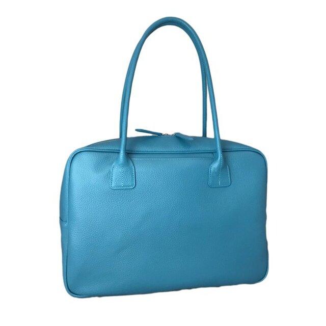 A4対応 人気のスクエアボストン オール牛革 本革バッグ 軽量 リアル シュリンクレザー ライトブルーの画像1枚目