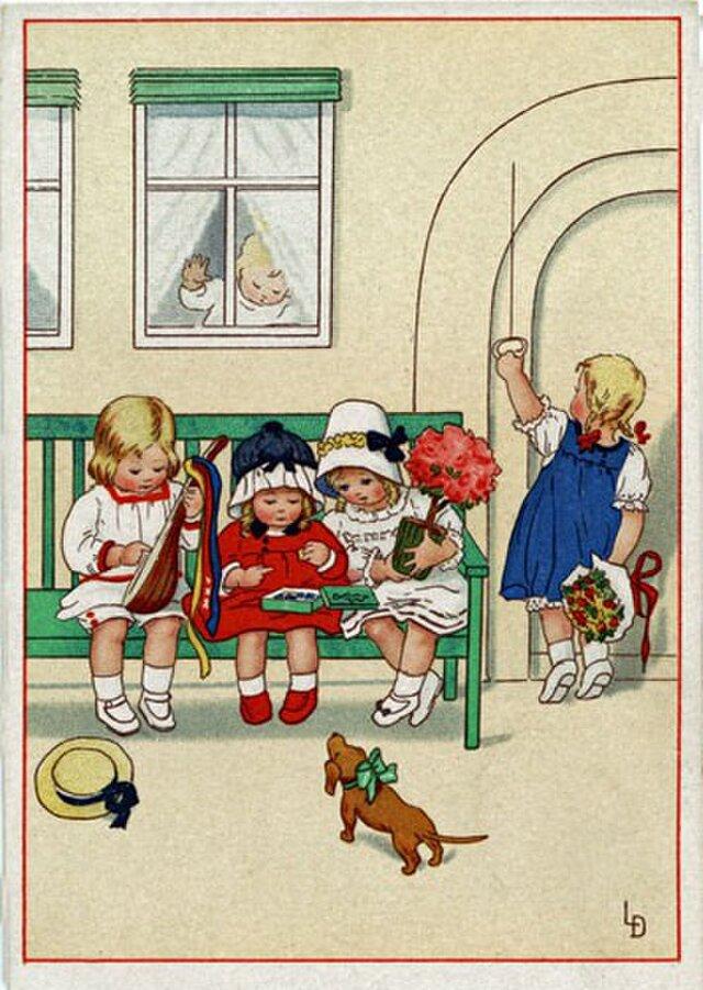 ドイツ製 ポストカード【緑のベンチと4人娘】DA-PCD003の画像1枚目