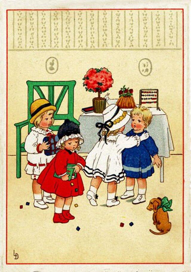 ドイツ製 ポストカード【お部屋の4人娘】DA-PCD004の画像1枚目