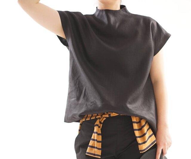 【wafu】レイズド・ネックライン リネンブラウス フレンチスリーブ トップス Tシャツ/ブラック【Lサイズ】a48-23の画像1枚目