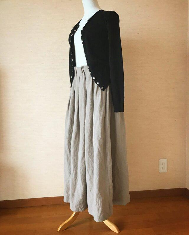 リネンレーヨンのスカート グレージュの画像1枚目