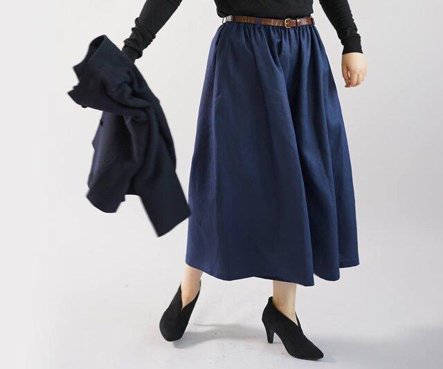 【wafu】リネンパンツ ワイドパンツ スカーチョ パンツ ウエストゴム 半端丈 /オリエンタルブルー  bo5-56の画像1枚目