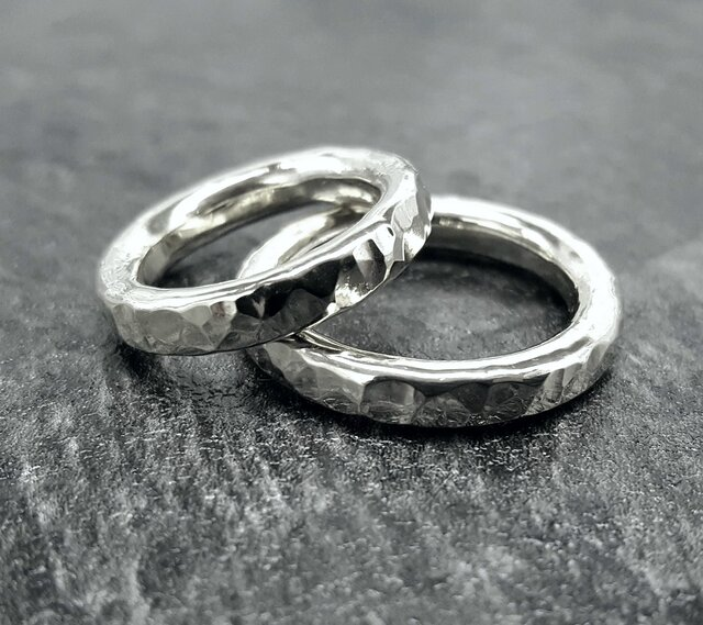 ◆ 受注制作 ◆ ペアリング *Tsuchi-me * ring  * silver925 *の画像1枚目