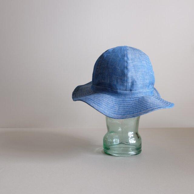 リネン デニム ライトオンス 【 ブルー 】・まぁるい 帽子  <受注制作>の画像1枚目