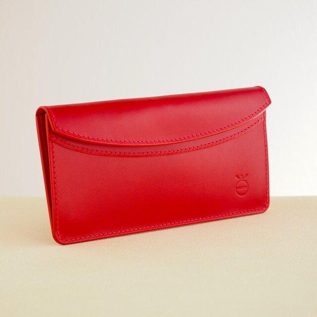 薄い軽い使いやすい! スリムな財布#レッドの画像1枚目