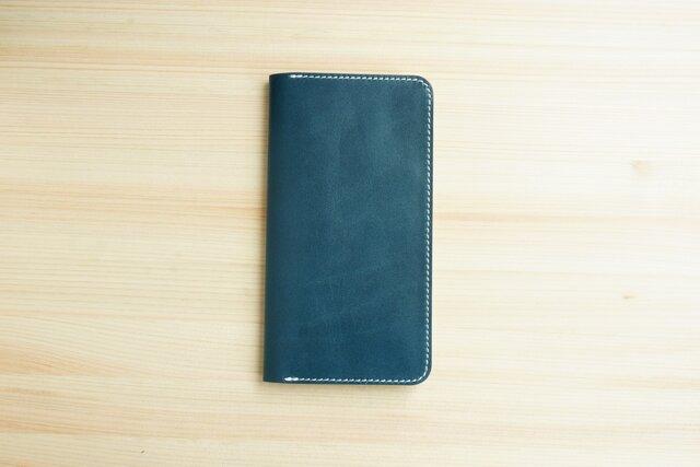 牛革 iPhone8Plus/7plus ヌメ革 レザーケース カバー    手帳型  ネイビーカラーの画像1枚目