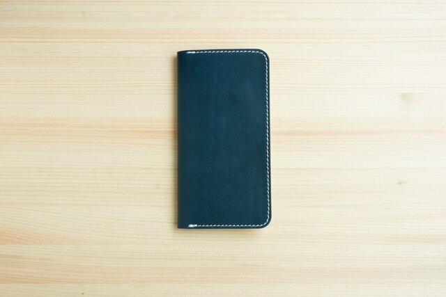 牛革 iPhone8/iPhone7カバー  ヌメ革  レザーケース  手帳型  ネイビーカラーの画像1枚目