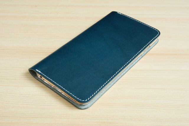 牛革 iPhone6plus/6splus ヌメ革 レザーケース カバー    手帳型  ネイビーカラーの画像1枚目