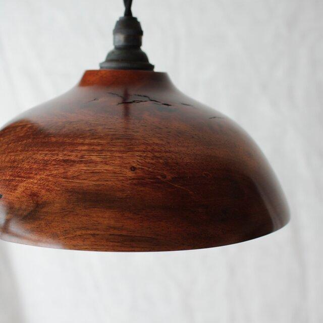 木と漆のランプ 柿 (kk2)の画像1枚目