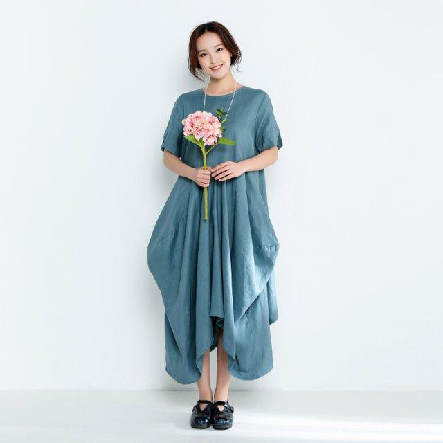 リネンゆったりロングワンピース・ドレスの画像1枚目