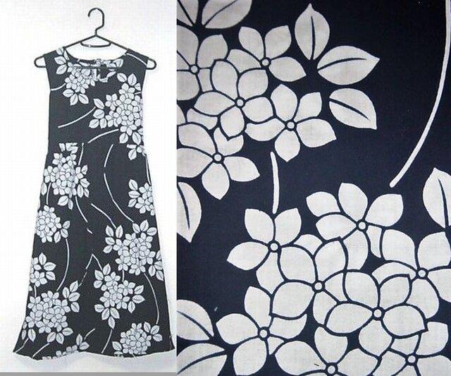 浴衣ワンピース♪紫陽花が素敵な浴衣チュニックワンピース♪ハンドメイド♪コットンの画像1枚目