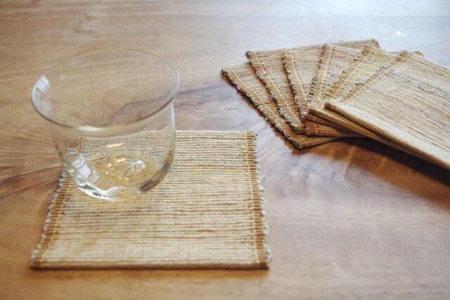 長く使える 木綿・裂き織り コースター イエロー系 1枚の画像1枚目