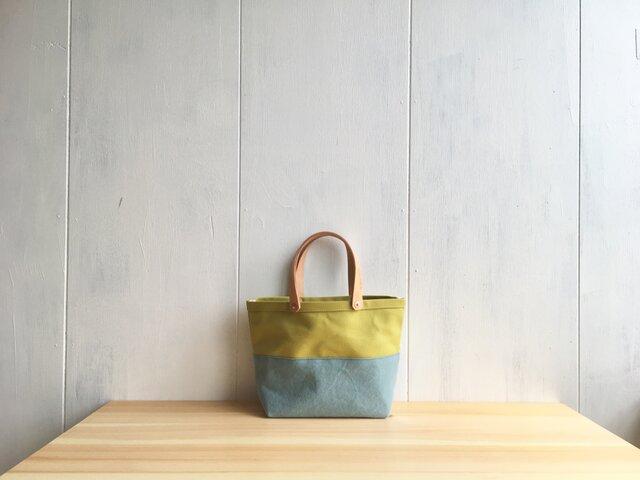 【受注製作】黄緑色と水色の小さな鞄の画像1枚目