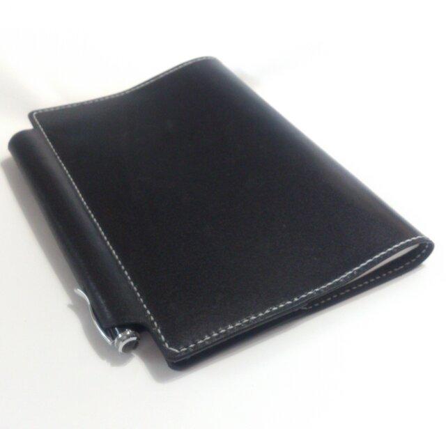 【ブラック】筒状ペンホルダーのA5手帳 ノート付 ヌメ床革 レザー ブックカバーの画像1枚目