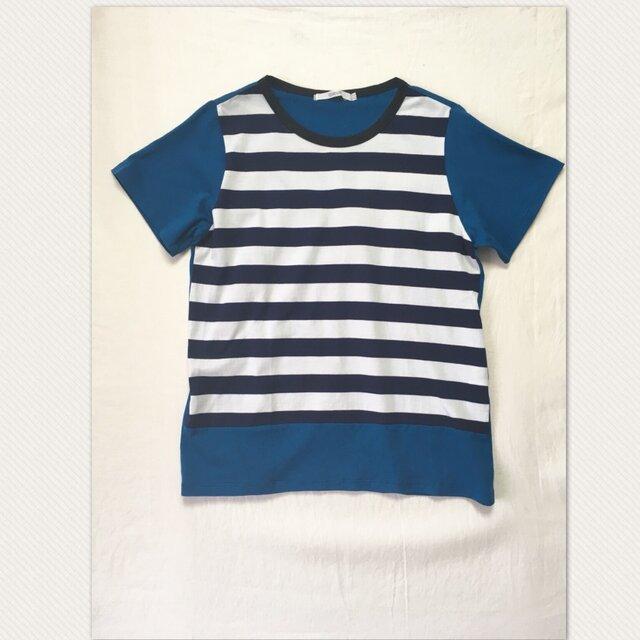 ボーダー×ブルー Tシャツの画像1枚目