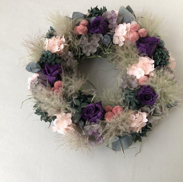 スモークツリーと紫陽花のリース【パープル】の画像1枚目
