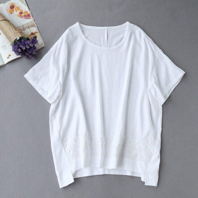★6月キャンペーン 送料無料★f8061009刺繍入り シンプルこそ 差をつける 綿麻半袖Tシャツ ブラウス トップス の画像1枚目