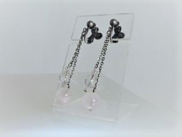 10月誕生石!ローズクウォーツ・水晶の銀古美チェーンイヤリング♪の画像1枚目