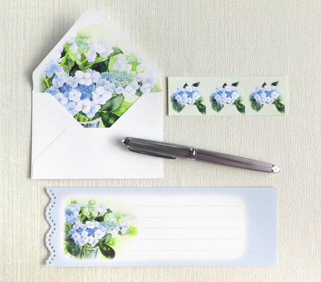 額紫陽花のミニ封筒&メッセージカード(内模様)の画像1枚目