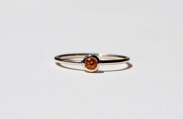 Spessartine garnet 3mm ring / K10YGの画像1枚目