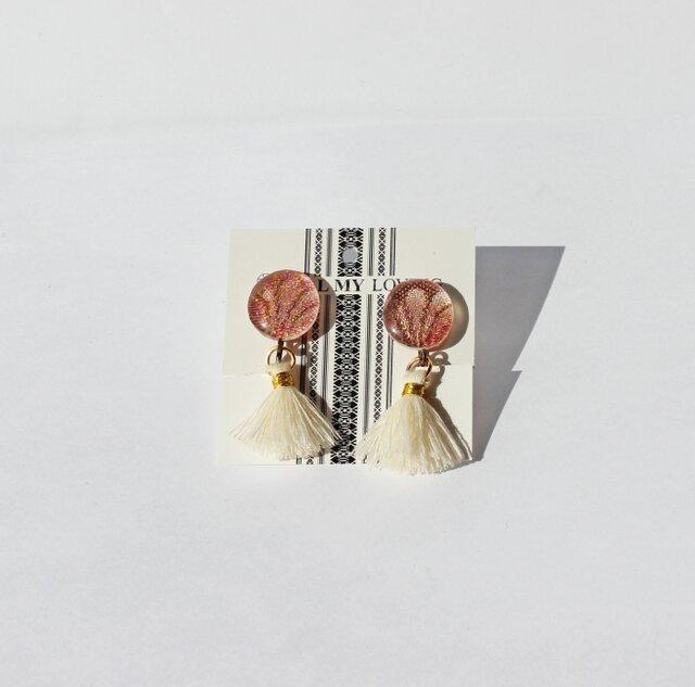博多織フリンジイヤリング1 ピアス *カラー・金具選択の画像1枚目