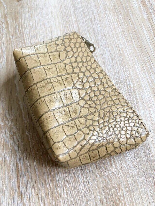 クロコ紋様が美しい ポーチ Lサイズ マチ付き 本革 クロコ型押し オークの画像1枚目