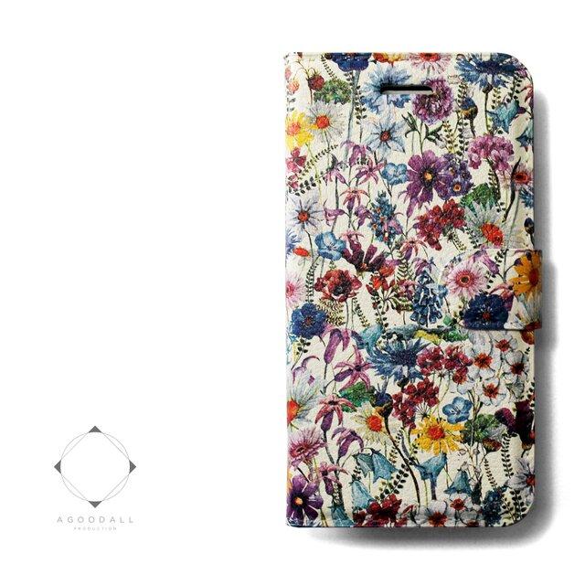 【両面デザイン】 iphoneケース 手帳型 レザーケース カバー(花柄×ブラック)ワイルドフラワー ボタニカルの画像1枚目