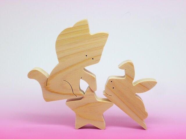 送料無料 木のおもちゃ ねこと星とうさぎの画像1枚目
