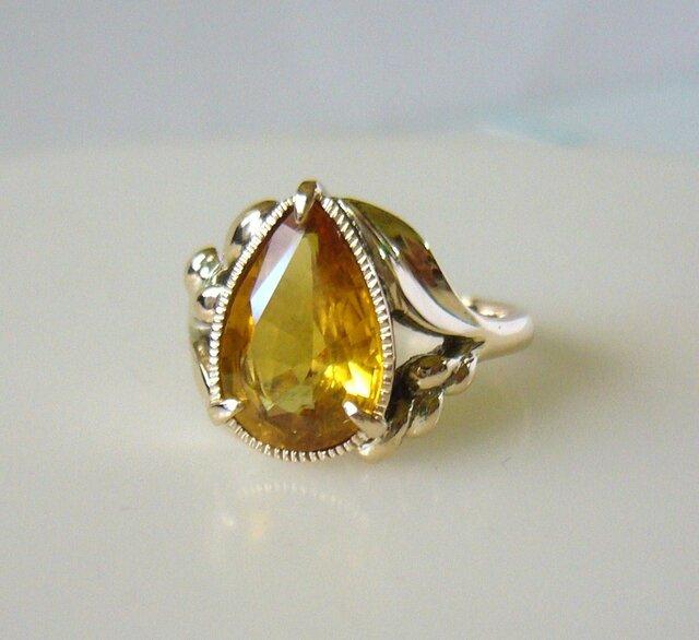「A様オーダーメイド ゴールデンサファイアのK10の指輪」の画像1枚目