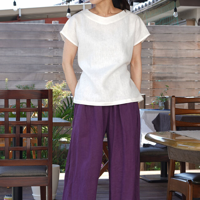【wafu】中厚 リネンブラウス Vネック Tシャツ フレンチスリーブ チュニック 紐付 / ホワイト t025a-wht2の画像1枚目