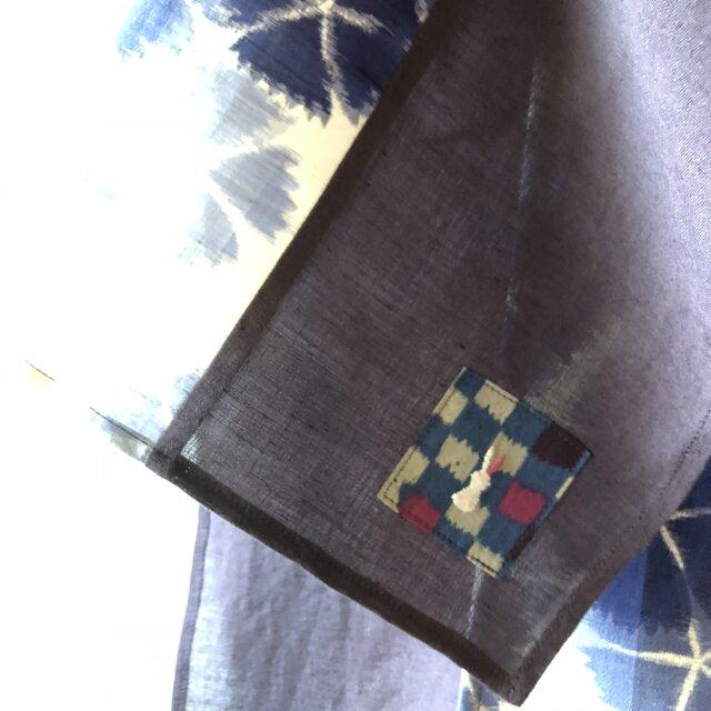 銘仙と播州織のスカーフ834 ストール 麻 リネン コットンの画像1枚目