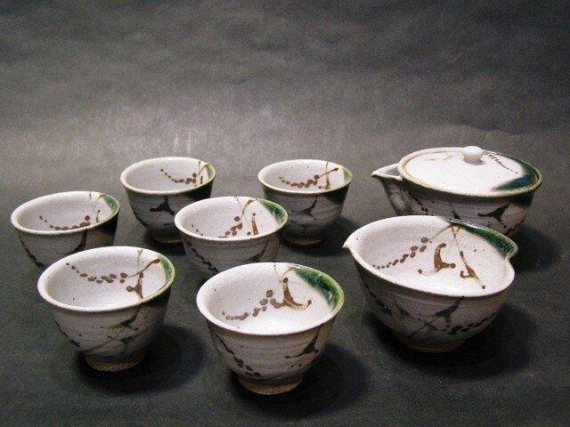 織部唐津煎茶セット(水引)の画像1枚目