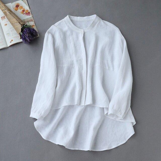 f8061010 ゆるっと おしゃれな白シャツ 長袖 夏の日焼止めにもの画像1枚目