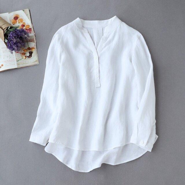 f8061011 洗練Vネックシャツ 白シャツ 長袖 リネン100% オフホワイトの画像1枚目
