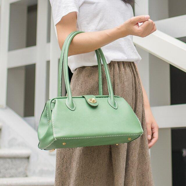 【切線派】がま口 本革手作りのレザートートバッグ 総手縫い 手持ち 肩掛け 2WAY 鞄の画像1枚目