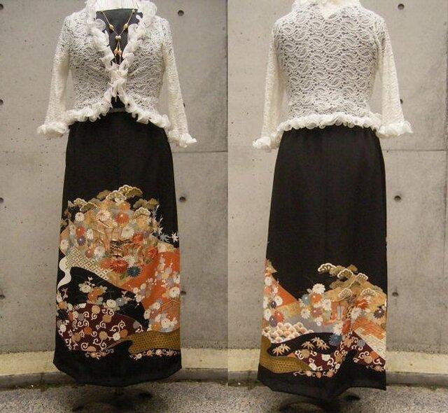 留袖リメイクスカート(古典柄御所車)の画像1枚目