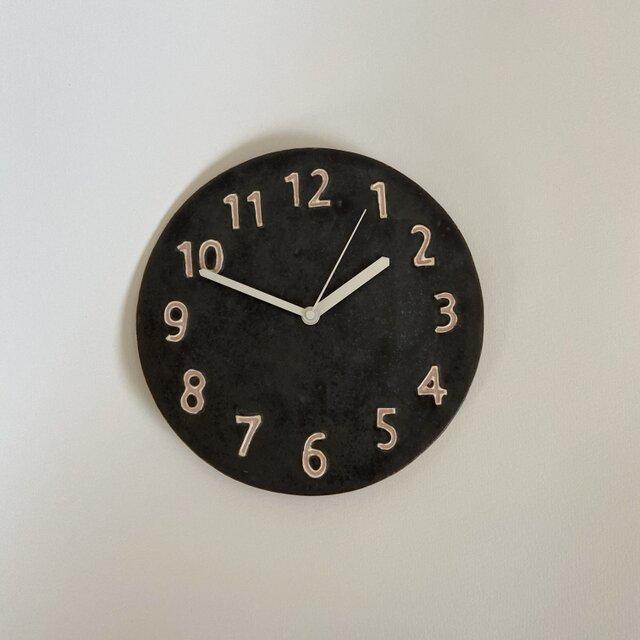 (大)陶シンプル 掛け時計 黒の画像1枚目