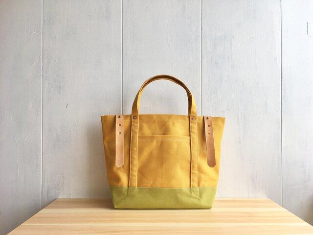 【SALE】黄色×黄緑色の大きめの鞄 ヌメ革ベルトの画像1枚目