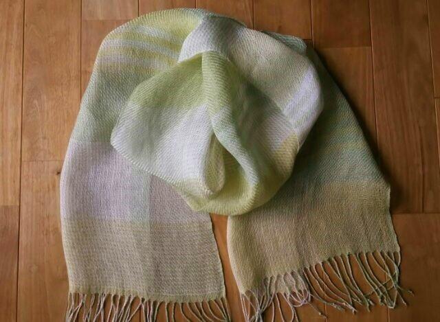 手織りストール/麻(ラミー)/シトラスの画像1枚目