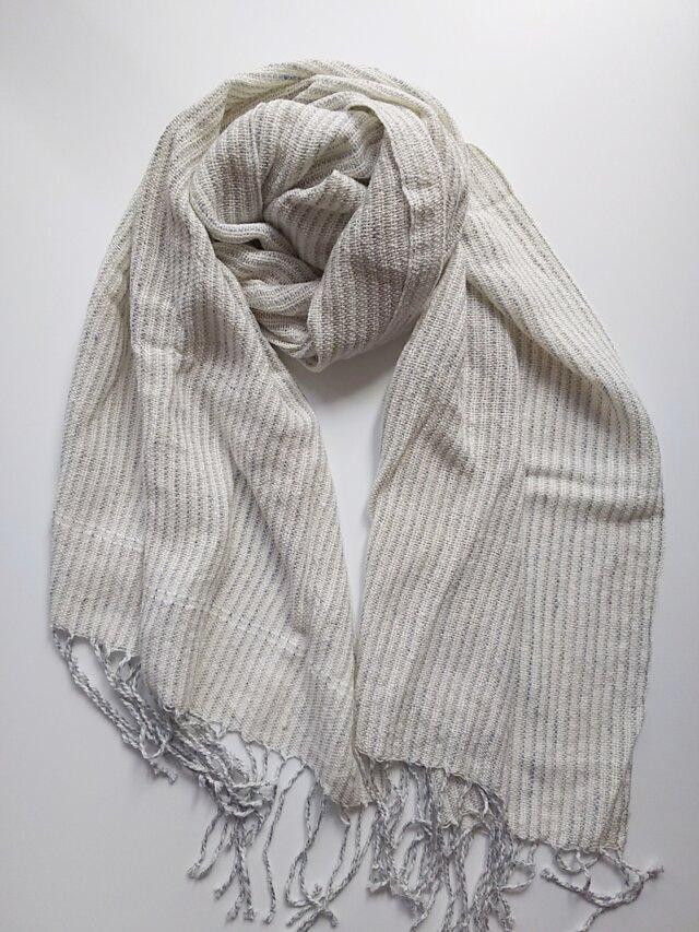 シルクコットン♪上品な手織りストライプストール 342の画像1枚目
