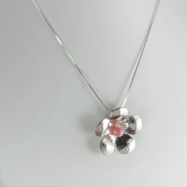 Flower Pendant with Rhodochrositeの画像1枚目