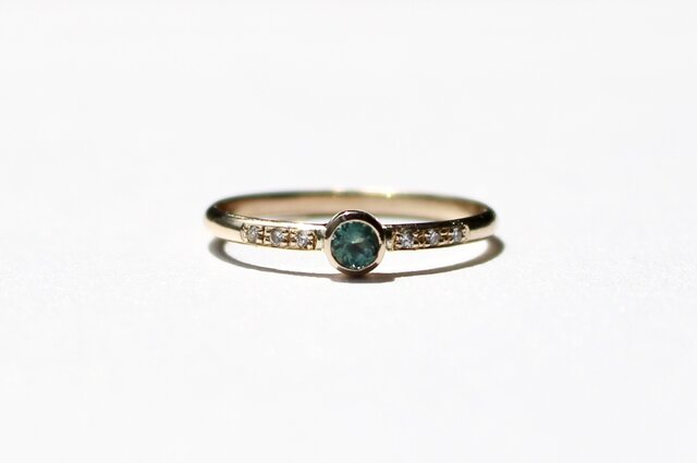 Alexandrite 3mm + Diamonds  Ring / K10YGの画像1枚目