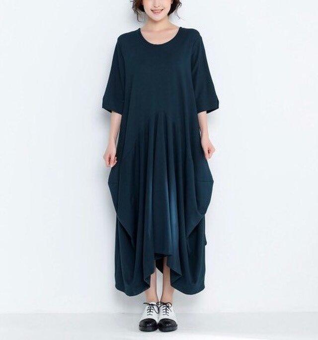 コットンニットゆったりロングワンピース・ドレス<新作2018夏>の画像1枚目