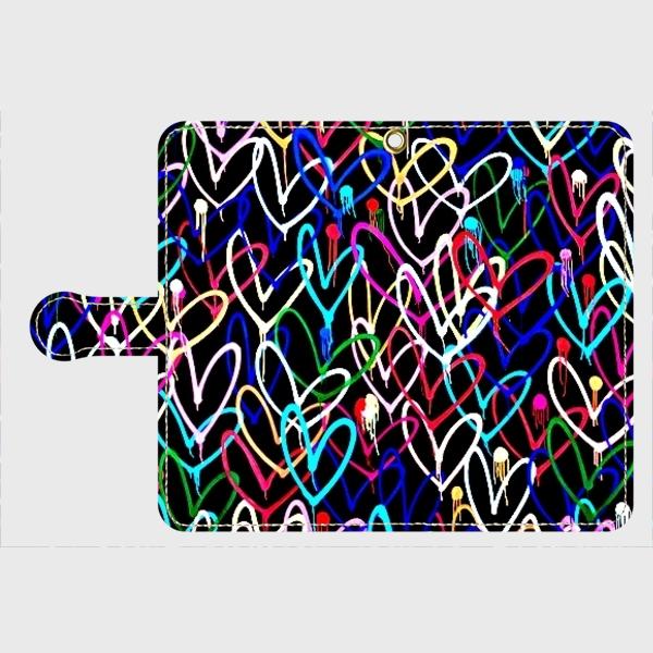 アートペイント「ハートブラック」galaxy、Xperia 等多機種対応 手帳型スマホケースの画像1枚目