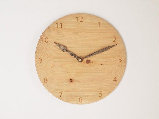 木製 掛け時計 丸 ヒノキ材4の画像1枚目