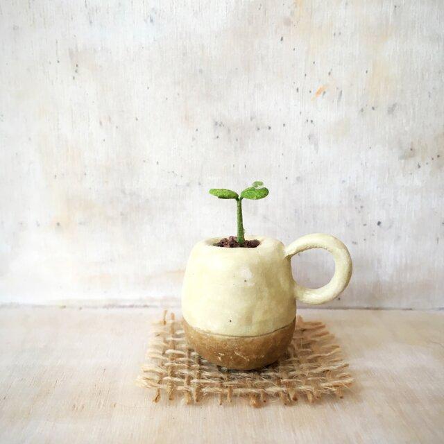 2160.bud 粘土の鉢植え マグカップの画像1枚目