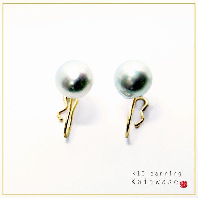 アコヤ真珠 組み合わせを楽しめる イヤリング ナチュラルグレー バロックパール 8.5-9mm イエローゴールド K10の画像1枚目